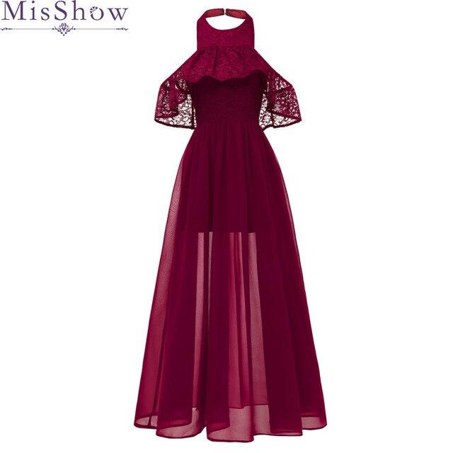 Cheap Long Chiffon Burgundy Bridesmaid Dresses 2019 A-Line Vestido De Festa De Casamen Halter Lace Formal Party Prom Dresses