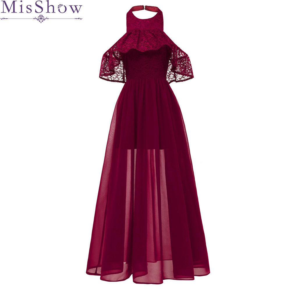 Cheap Long Chiffon Burgundy   Bridesmaid     Dresses   2019 A-Line Vestido De Festa De Casamen Halter Lace Formal Party Prom   Dresses