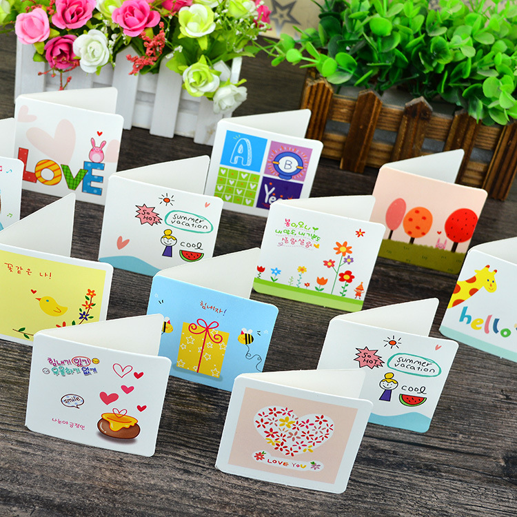 Brilliant 160pc/lot Cute Cartoon Heart Greeting Business Card Holiday Card Lovely Creative Fresh Small Card/message Festival Card New Varieties Are Introduced One After Another