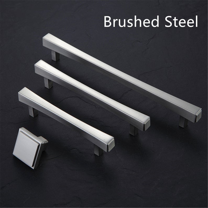 3 75 quot 5 quot 7 55 quot Modern Kitchen Cabinet Handles Dresser Pulls Handles Black Drawer Knobs Pulls Door Handles Brushed Steel in Cabinet Pulls from Home Improvement