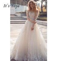 Это Yiiya одежда с длинным рукавом Сексуальная спинки Поезд Иллюзия невесты платья кружева со шлейфом Свадебное платье Vestidos De Novia Casamento Y8004