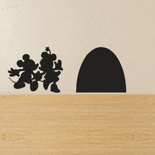 Mickey and Minnie Mouse Hole House Vinyl Wall Sticker New Cartoon Wall Decals Funny Wall Decor Free Shipping