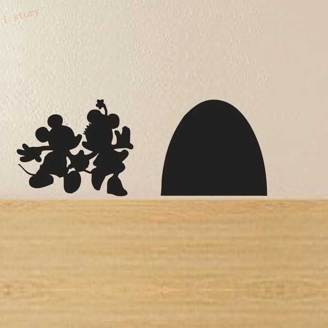 Mickey And Minnie Mouse Hole House Vinyl Wall Sticker New Cartoon Decals Funny Decor