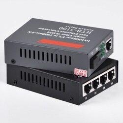 1 par de Fibra Óptica Conversor de Mídia 10/100M 4 RJ45 1 SC Monomodo de Fibra Única e 10/ 100M 1 RJ45 1 SC Monomodo de Fibra Única