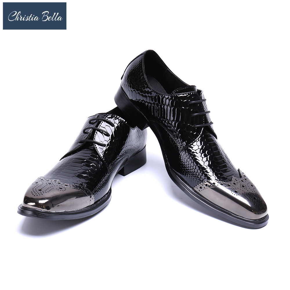 Christia Bella Mens Black Dress Shoes Fashion Crocodile Pattern Business Leisure Leather Shoes British Casual Wedding ShoesChristia Bella Mens Black Dress Shoes Fashion Crocodile Pattern Business Leisure Leather Shoes British Casual Wedding Shoes
