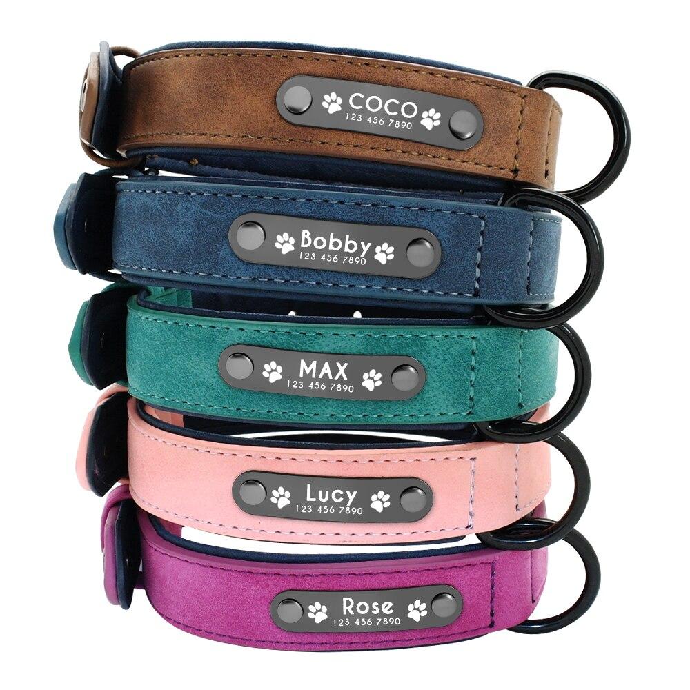 Collares de Perro personalizado Collar de Perro de cuero nombre ID etiquetas para pequeño mediano grande perros Pitbull Bulldog Beagle Correa Perro