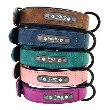 Halsbanden Gepersonaliseerde Aangepaste Lederen Halsband Naam ID Tags Voor Kleine Medium Grote Honden Pitbull Bulldog Beagle Correa Perro