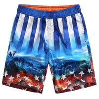 Board Shorts Men Quick Dry Beach Shorts Fashion Cotton Loose Straight Hawaiian Shorts Printing Dark Color