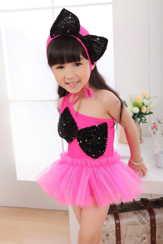 2015 Fashion Girl One-piece Swimwear Sequin Big Boeknot Princess Dress Kids Beach wear