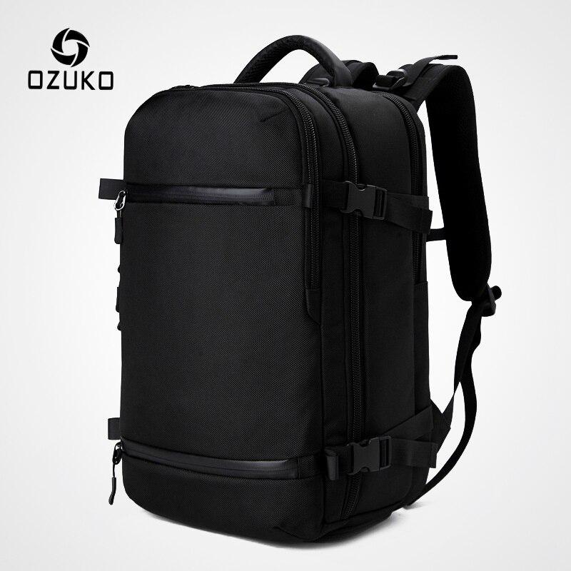 """OZUKO חדש גברים תרמיל עבור 15 """"17"""" מחשב נייד תרמילי מים דוחה תכליתי תיק USB טעינת נסיעות תרמיל גדול המוצ 'ילה"""