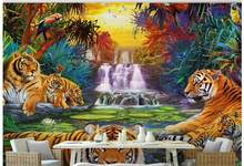 Custom photo wallpaper 3d wall mural wallpaper mural Mediterranean tropical forest waterfall king tiger parrot background wall(China)