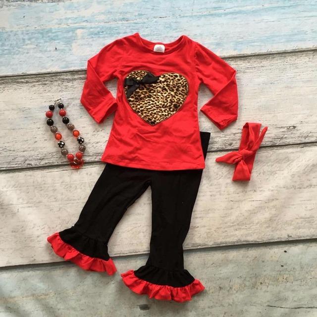 Dia dos namorados do bebê meninas Primavera outfit suit leopard amor do coração vermelho top crianças babados de algodão roupas combinando com acessórios