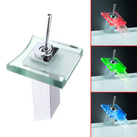 Led Glass Waterfall Brass Faucet For Bathroom Deck Mounted basin sink 3 Color