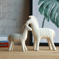 2PCS/SET Contracted White Ceramic Horse furnishing articles Ceramic Animal Figurines statue Handicrafts Home Decoration