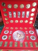 Rare Chinese government issued Dog Year(2018) anniversary silver&jade coin ,46 piece(Set),Color medals