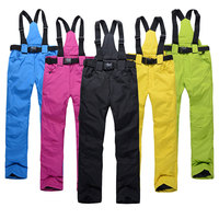 New Outdoor Sports High Quality Women Ski Pants Suspenders Men Windproof Waterproof Warm Colorful Winter Snow