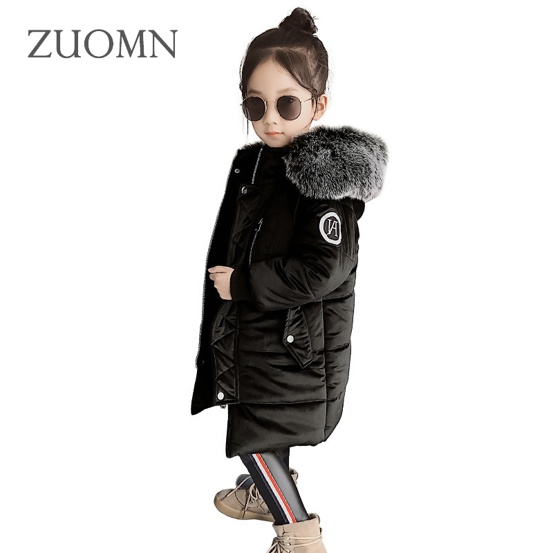2017 Baby Girls Jackets Winter Down Jacket Kids Warm Hooded Children Outerwear Coat Girls Clothes Long Parkas Low Degree GH467 linenall women parkas loose medium long slanting lapel wadded jacket outerwear female plus size vintage cotton padded jacket ym