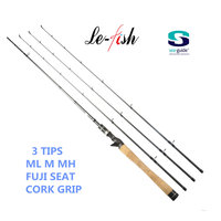 Le Fish Casting Spinning Fishing Rod M MH ML Power 3 Tips 100 Carbon Baitcasting Rod