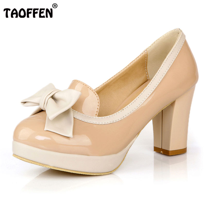 TAOFFEN Ladies High Heel Shoes Women Round Toe Bowknot Platform Square Heel Pumps Female Daily Work Fashion Footwear Size 33-43 loafers fashion round toe slip on women pumps female high heel shoes girls floral top quality brand footwear big size 43