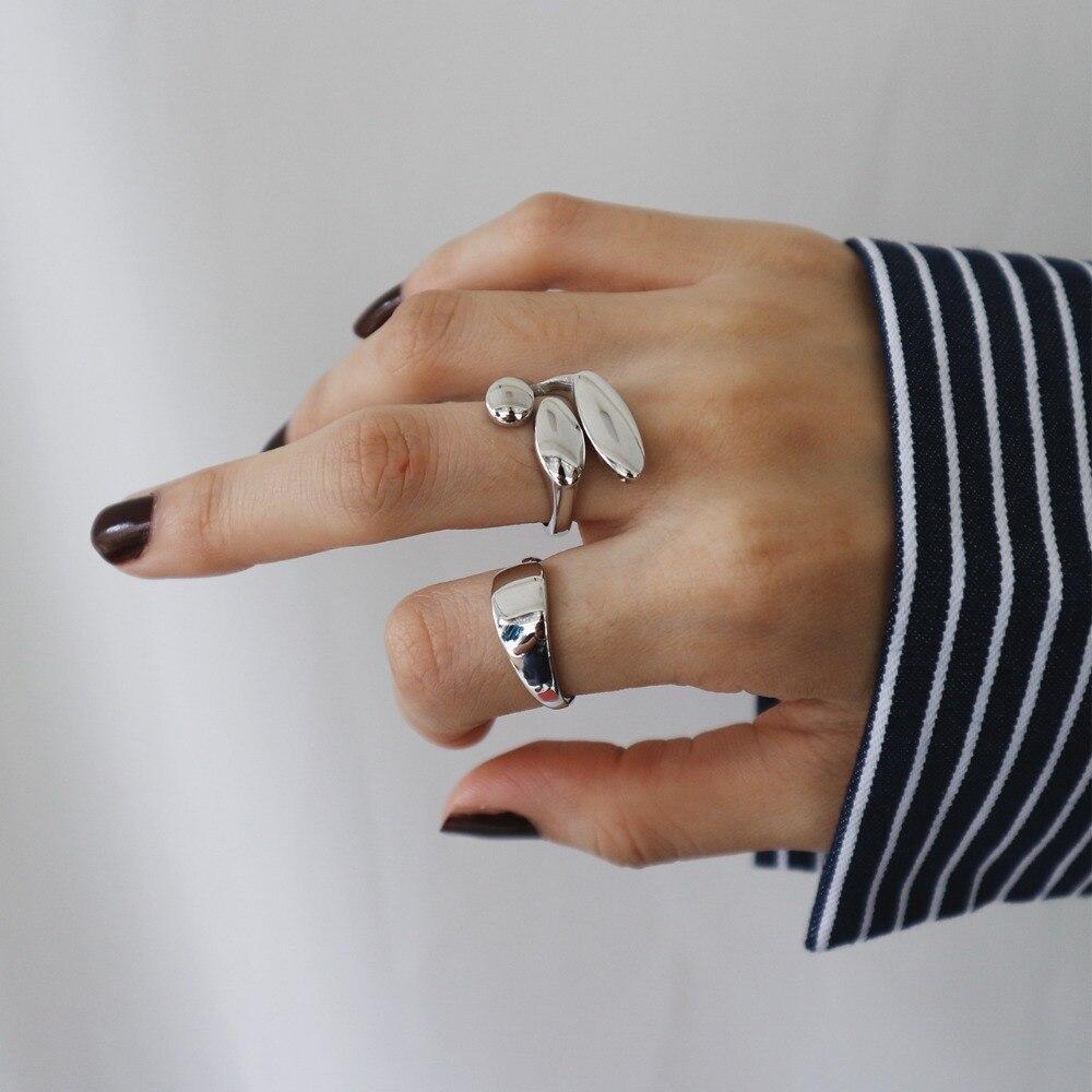 1 Pc Dame Authentische S925 Sterling Silber Edlen Schmuck Glänzend Oval Tränen Geometrische Ringe Offene Einstellbare J318 üBerlegene (In) QualitäT