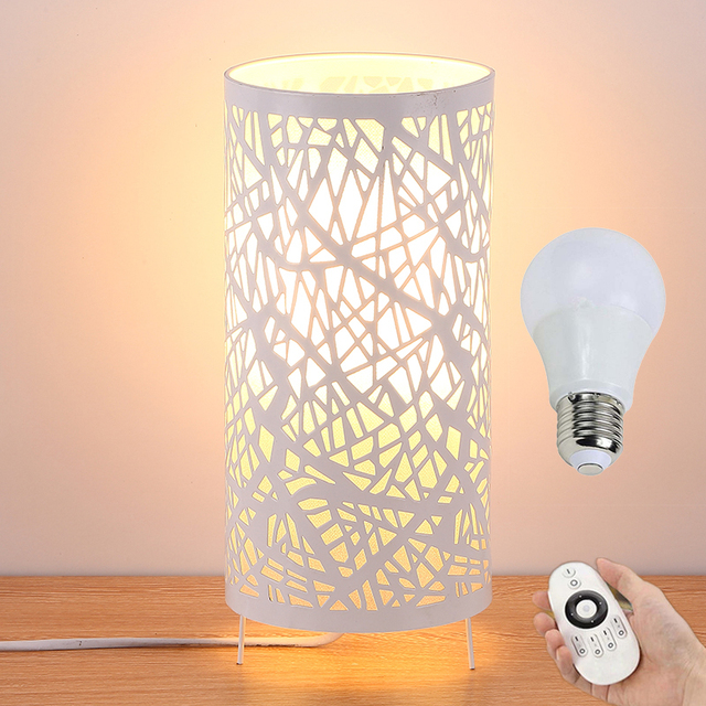 Modern ivory iron wrought iron table lamp remote control led bedroom modern ivory iron wrought iron table lamp remote control led bedroom night light christmas home decorative aloadofball Image collections