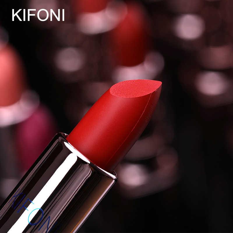 Nova chegada kifoni marca maquiagem beleza fosco batom de longa duração matiz lábios cosméticos batom vara maquiagem compõem vermelho batom