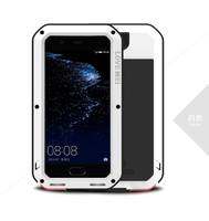 LOVE MEI Case For Huawei P10 Plus Shock DirtProof Water Resistant Metal Armor Aluminum Silicon Cover Phone Case Tempered Glass