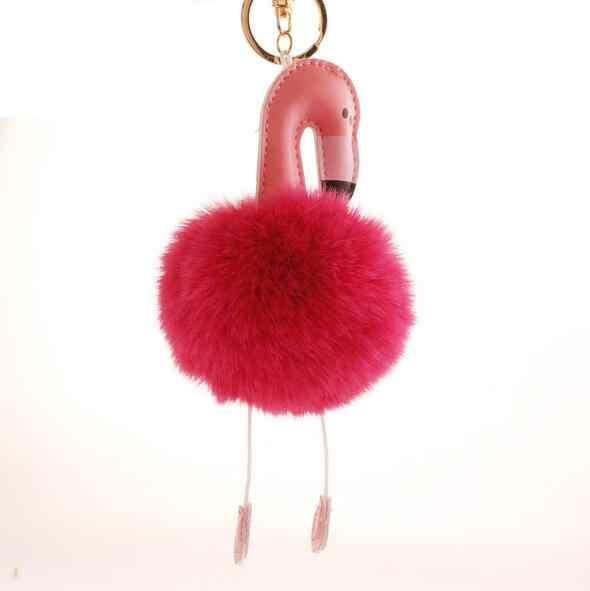 Bonito Dos Desenhos Animados Flamingo Keychain Encantador Fofo Artificial Pele De Coelho Bola Pompom Mulheres Saco Anel Chave Do Carro Chaveiro Animal Ave