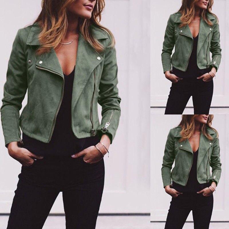 2018 Leather Outerwear & Coats Jackets Ladies Retro Rivet Zipper Up Bomber Casual Winter Flight army green khaki jackets women
