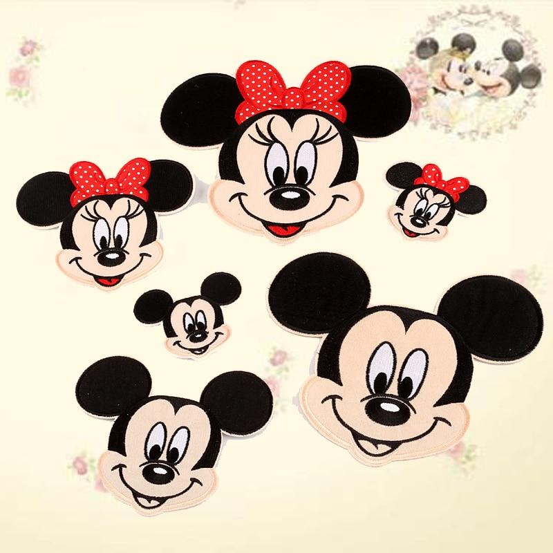 Pulaqi 50/pack Badge de dessin animé Mickey Minnie Patch fer sur des patchs pour vêtements à coudre patchs de broderie pour enfants vêtements mignons F