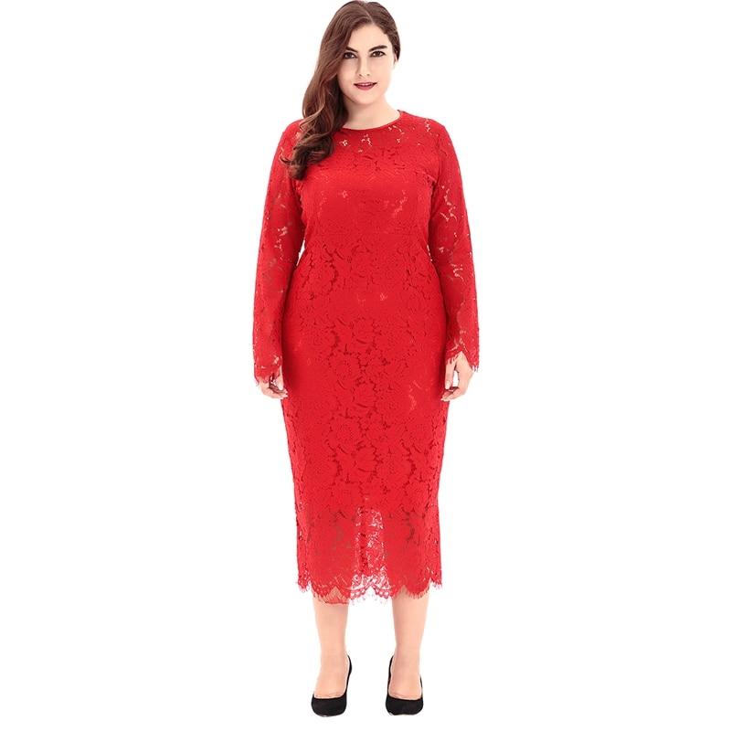 Plus Size Dress Women Sexy Lace Long Dresses Ladies