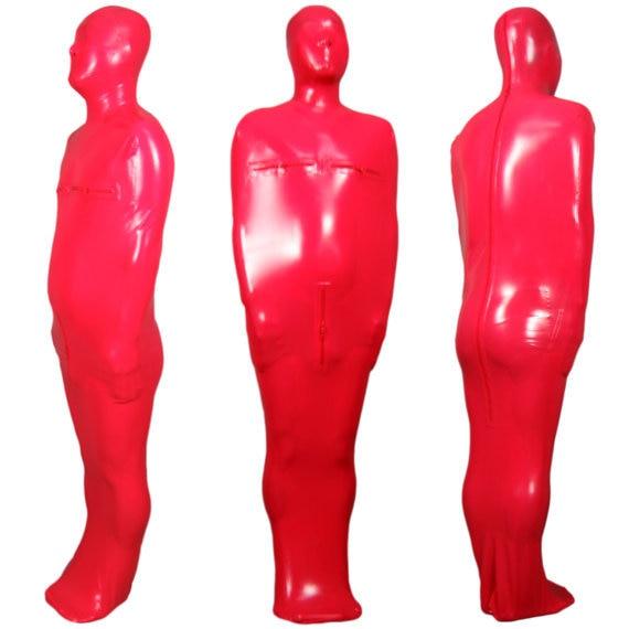 Red Rubber Suite: Full Body Handmade Latex Rubber Sack Latex Bondage Red