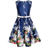 האופנה סאני בנות חיל הים שמלת חגורת פרח כחול המפלגה Vintage שמלות כלה נסיכת שמלה קיצית 2018 קיץ גודל בגדים 6-14
