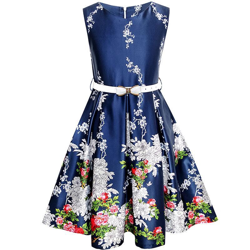 Sunny Fashion Girls Dress Navy Blue Flower Belt Vintage Party Sundress 2017 Summer Princess Wedding Dresses