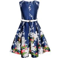 Sunny Fashion Girls Dress Navy Blue Flower Belt Vintage Party Sundress 2017 Summer Princess Wedding Dresses