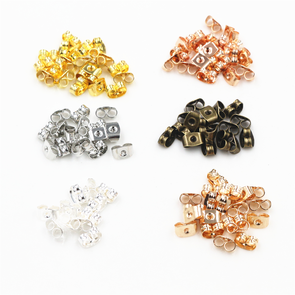 200pcs/lot Earring Post Backs Stopper Scrolls Ear Post Butterfly For Jewelry Making DIY Blocked Caps Earring Backs Stoppers
