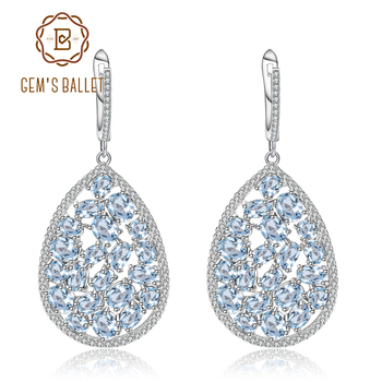 GEM'S BALLET 13.49Ct Natural Sky Blue Topaz Gemstone Drop Earrings Genuine Pure 925 Sterling Silver Fine Jewelry For Women
