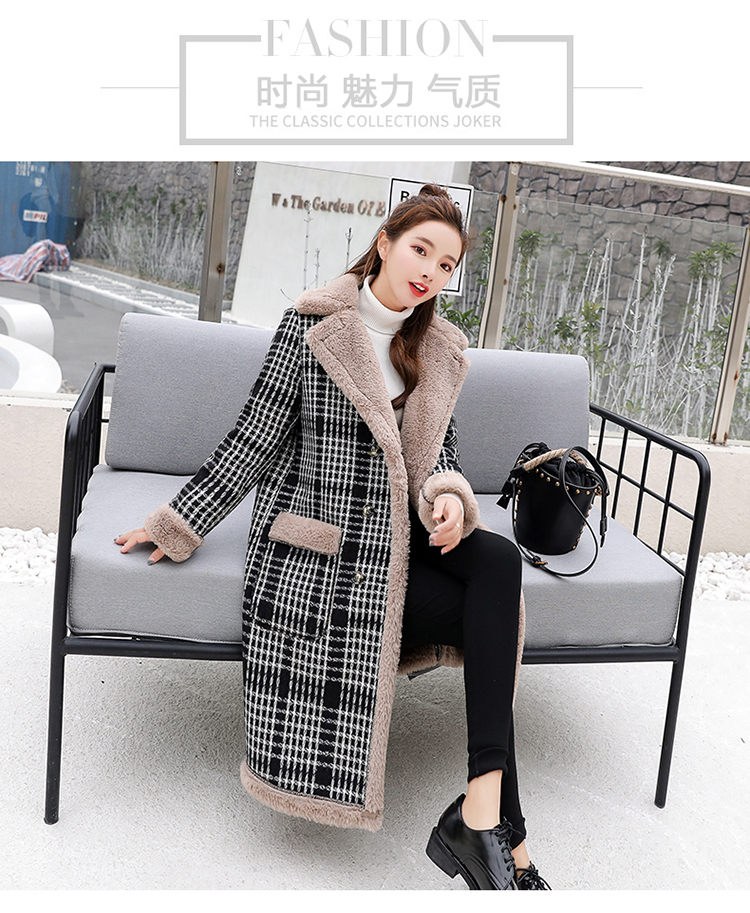 Lamb fur-padded 2018 winter women's new loose-fitting mid-length padded check wool coat, cotton-padded jacket 1