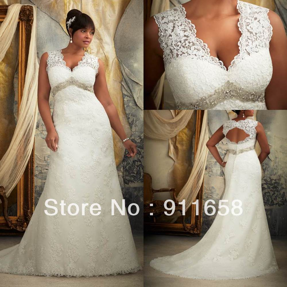 Vintage v neck a line lace open back wedding dress 2013 for Vintage wedding dresses plus size