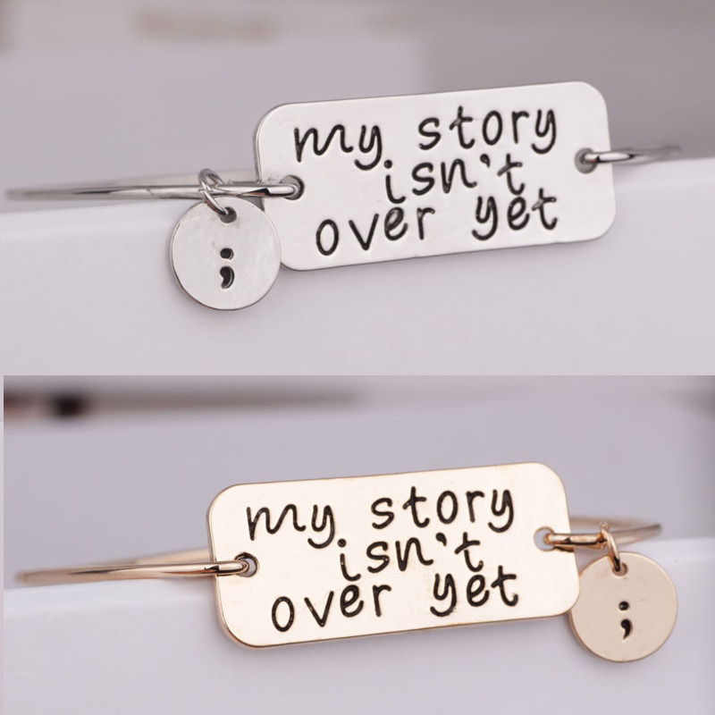 3pcs/lot Newest Women Fashion Charms lettering my story isn't over yet Bracelets Bangles Spring Summer Hot Sale jewelry image