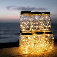 20 LED Solar Fairy Cap Light Mason Jar Lid Lamp Xmas Outdoor Garden Decor 2M Warm Light Automatic Charging Automatic Lighting
