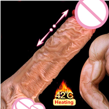 Heating Automatic Real Big Dildo Vibrator Electric Vibrating Real Penis Suction Cup Dildo for Women Sex Toys, USB Charging