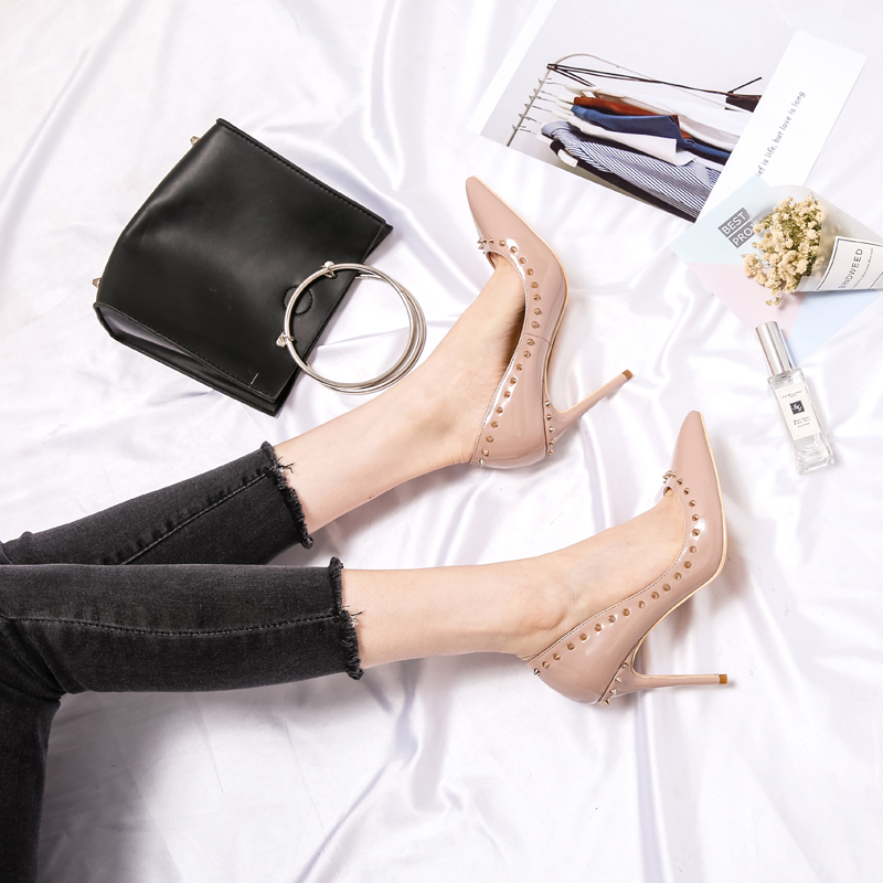 Free shipping fashion women Pumps brand new Casual Designer nude patent leather studde spikes point toe high heels shoes in Women 39 s Pumps from Shoes