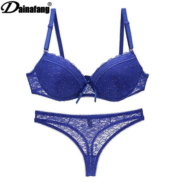 Novelty 2018 Lace Drill Bra Set Women Plus Size For Female Sexy Thong Set  And Push Up Underwear Bra Set34 36 38 40 42B C D E DD e12aa07f3
