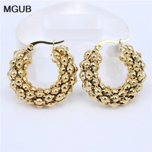 Earring Gift Stainless-Steel Gold-Color Thick Hollow Lightweight 7mm Popular MGUB Smooth