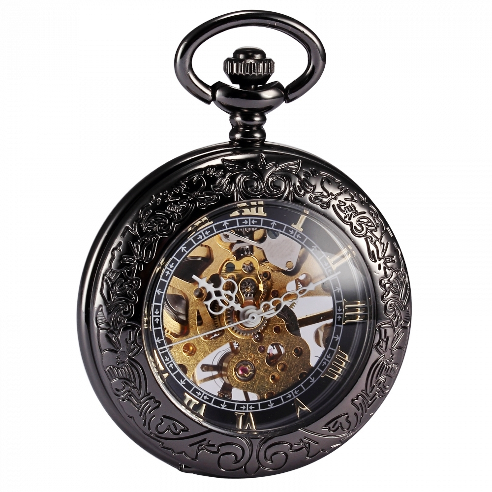 Steampunk Skeleton Transparent Roman Mechanical Copper Relogio De Bolso Fobs Long Chain Pendant Pocket Watch Nurse Clock /WPK164 automatic mechanical pocket watches vintage transparent skeleton open face design fob watch pocket chain male reloj de bolso