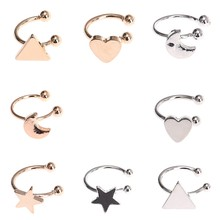 Korean Version Of The New Star Moon Angle Left Ear Single Ear Clip 2018 Summer Moon Ear Bones Clips Earrings Ear Cuff Woman(China)