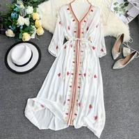Summer Dresses Women Bohemian Vintage Sexy Ladies V neck Dresses Embroidery Bohemian Beach Dress Female Long Maxi Elegant Dress