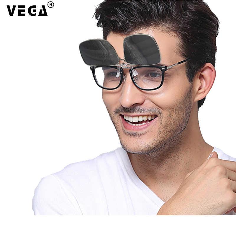 نظارات شمسية من VEGA مستقطبة تناسب أكثر من النظارات الشمسية مع مشبك صندوق على النظارات الشمسية نظارات قابلة للطي التفاف على نظارات HD Vision UV400 5-8