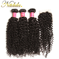 7a Peruvian Virgin Hair With Closure 4*4 Free/MID/3 Part Peruvian Hair Lace Closure Peruvian Curly Virgin Hair Human Hair Weave